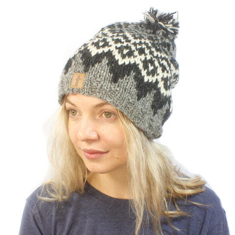 Nat Diamond Beanie-ACCESSORIES / BEANIES-Sweater & Pashmina House (NEP)-B&W-The Outpost NZ