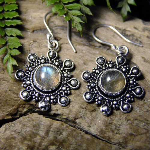 Negrasi Silver Plated Earrings-JEWELLERY / EARRINGS-Gopal Brass Man (IND)-Labradorite-The Outpost NZ