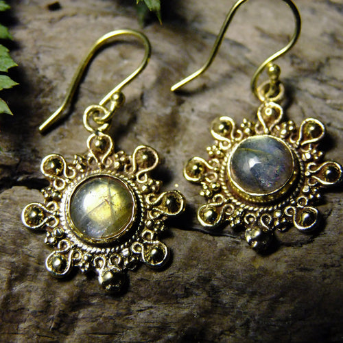 Negrasi Stone Brass Earrings-JEWELLERY / EARRINGS-Gopal Brass Man (IND)-Labradorite-The Outpost NZ