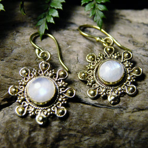 Negrasi Stone Brass Earrings-JEWELLERY / EARRINGS-Gopal Brass Man (IND)-Moonstone-The Outpost NZ