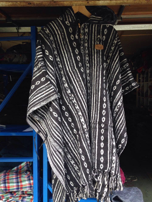 Nepali Thick Cotton Poncho-CLOTHING / PONCHO-The Look Fashion (NEP)-Black & White-Long-The Outpost NZ