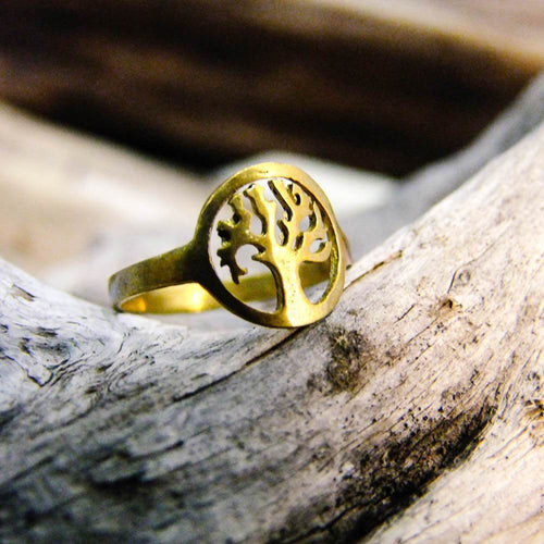 Neysa Tree Brass Ring-JEWELLERY / RINGS-Gopal Brass Man (IND)-The Outpost NZ