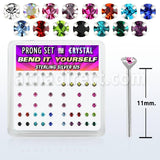 Nose Stud 925 Silver Crystal Assorted-BODY JEWELLERY-Not specified-The Outpost NZ