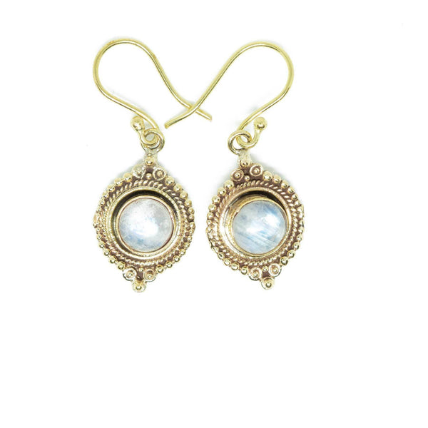 Novitha Brass Earrings-JEWELLERY / EARRINGS-Gopal Brass Man (IND)-Moonstone-The Outpost NZ
