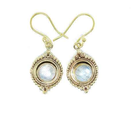 Novitha Brass Earrings-JEWELLERY / EARRINGS-Gopal Brass Man (IND)-Labradorite-The Outpost NZ