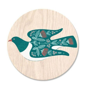 NZ Birds Round Coasters-NZ HOMEWARES-Live Wires (NZ)-Kereru / Folk-The Outpost NZ