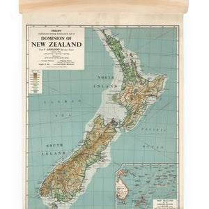 NZ Dominion Map Wall Chart-NZ ART-100% NZ (NZ)-Mini-The Outpost NZ
