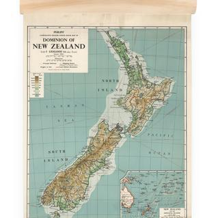 NZ Dominion Map Wall Chart