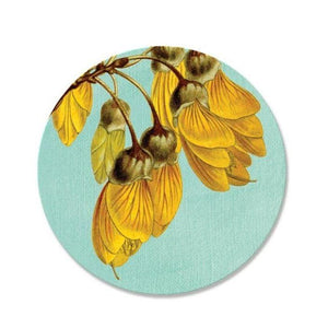 NZ Flora Round Coasters-NZ HOMEWARES-Live Wires (NZ)-Vintage Kowhai-The Outpost NZ