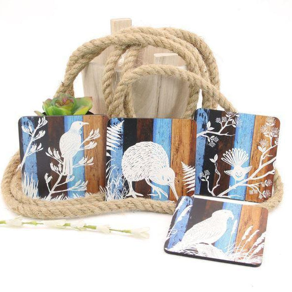 Nz Native Birds Coasters-NZ HOMEWARES-Crystal Ashley (NZ)-The Outpost NZ