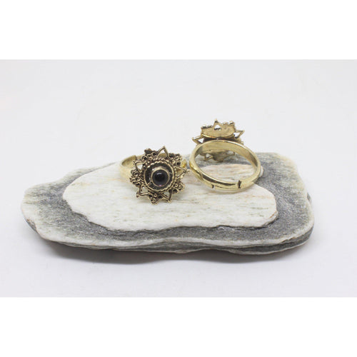 Odelia Brass Ring-JEWELLERY / RINGS-Gopal Brass Man (IND)-Onyx-The Outpost NZ