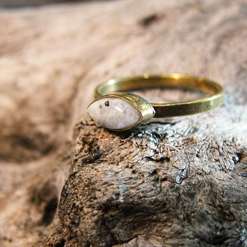 Olume Stone Brass Ring-JEWELLERY / RINGS-Gopal Brass Man (IND)-Moonstone-The Outpost NZ