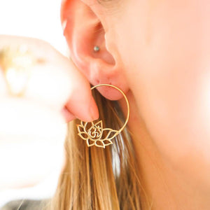 Om Lotus Earrings-JEWELLERY / EARRINGS-Gopal Brass Man (IND)-Brass-The Outpost NZ