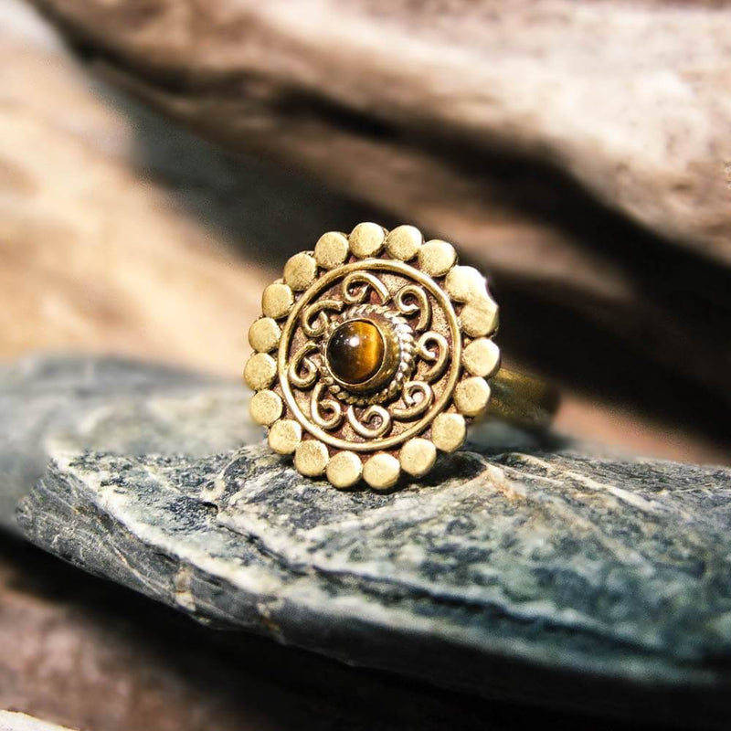 Onora Brass Ring-RINGS-Not specified-Tigers Eye-The Outpost NZ