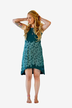 Organic Cross Back Sundress-CLOTHING / DRESS-Trance Trip (NEP)-Leaf-Emerald-S-The Outpost NZ