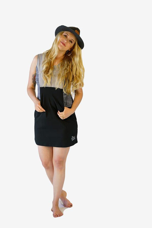 Organic Pockets Dress-CLOTHING / DRESS-Trance Trip (NEP)-Geo Dot-Teal-S-The Outpost NZ