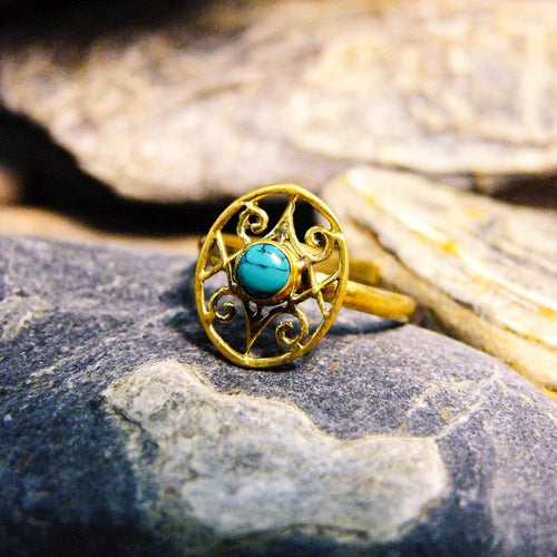 Oval Koru Stone Brass Ring-JEWELLERY / RINGS-Gopal Brass Man (IND)-Howlite-The Outpost NZ