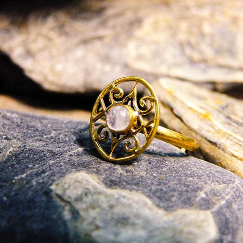 Oval Koru Stone Brass Ring-JEWELLERY / RINGS-Gopal Brass Man (IND)-Moonstone-The Outpost NZ