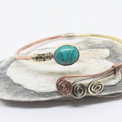 Oval Swirl Stone Brass Bangle-JEWELLERY / BANGLE-Gopal Brass Man (IND)-Howlite-The Outpost NZ