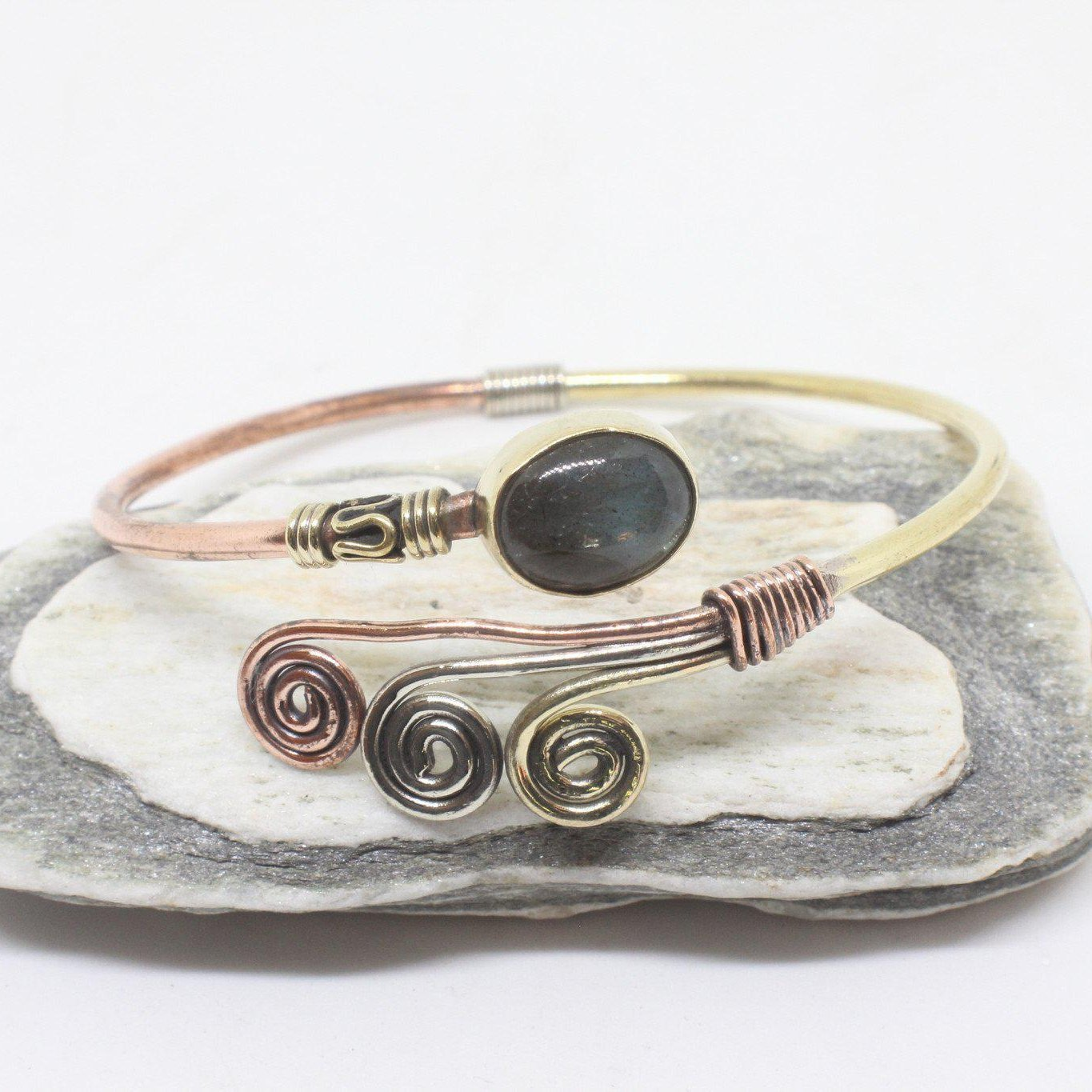 Oval Swirl Stone Brass Bangle-JEWELLERY / BANGLE-Gopal Brass Man (IND)-Labradorite-The Outpost NZ