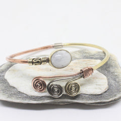 Oval Swirl Stone Brass Bangle-JEWELLERY / BANGLE-Gopal Brass Man (IND)-Moonstone-The Outpost NZ