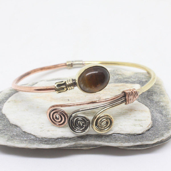 Oval Swirl Stone Brass Bangle-JEWELLERY / BANGLE-Gopal Brass Man (IND)-Tigers Eye-The Outpost NZ