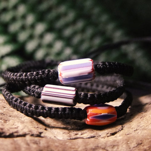 Painted Bead Macrame Bracelet-JEWELLERY / BRACELET-Kaari's Jewellery (IMPORT)-Black-The Outpost NZ