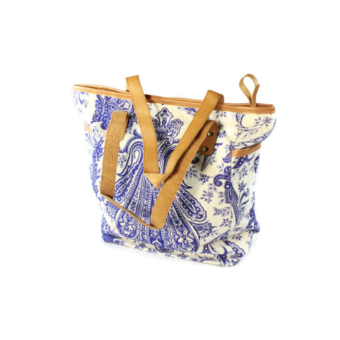 Paisley Beach Bag-ACCESSORIES / BAGS-Not specified-Navy/White-The Outpost NZ