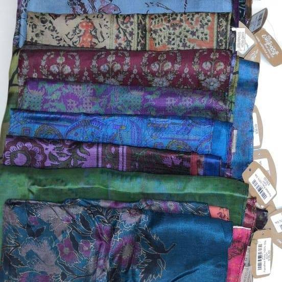 Panelled Posy 100% Silk Scarf-ACCESSORIES / SCARVES-Varanasi Silk (IND)-The Outpost NZ