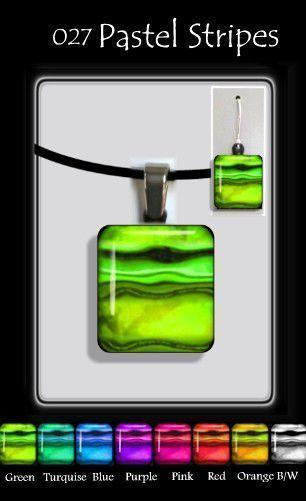 Pastel Stripe Square-NZ JEWELLERY-TracyH (NZ)-Green-Pendant-The Outpost NZ