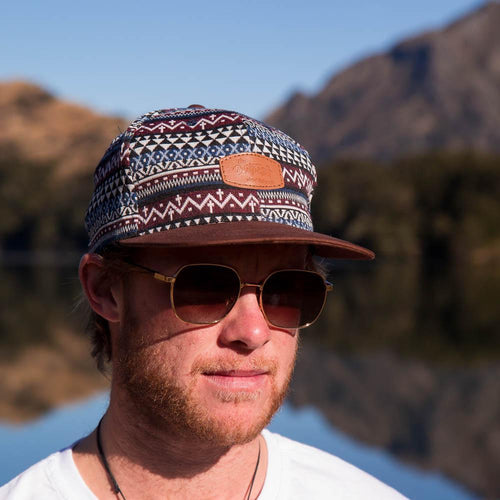 Patterned Snap Back Hat-ACCESSORIES / HATS-Long Ma Lae (THA)-Brown Brim / Arrow Heads-The Outpost NZ