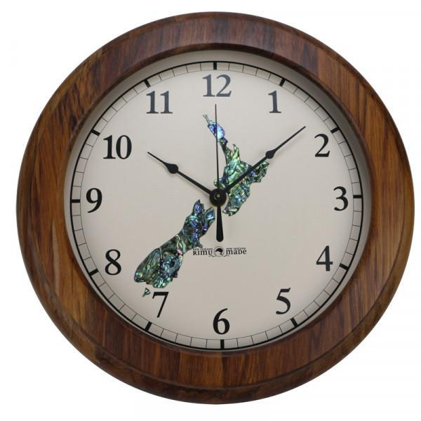 Paua New Zealand Arabic Numeral Rimu Clock-NZ HOMEWARES-iNZspired-The Outpost NZ