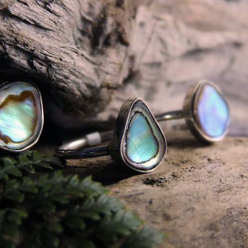 Paua Sterling Silver Ring-JEWELLERY / RINGS-Silver Supply 1 (IND)-52-S-Round-The Outpost NZ