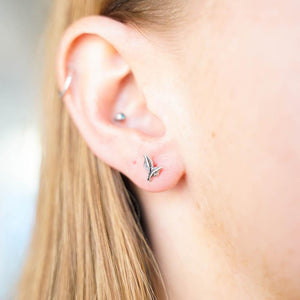 Peace Lilly Leaf Silver Stud Earrings-JEWELLERY / EARRINGS-Mimi Silver (THA)-The Outpost NZ