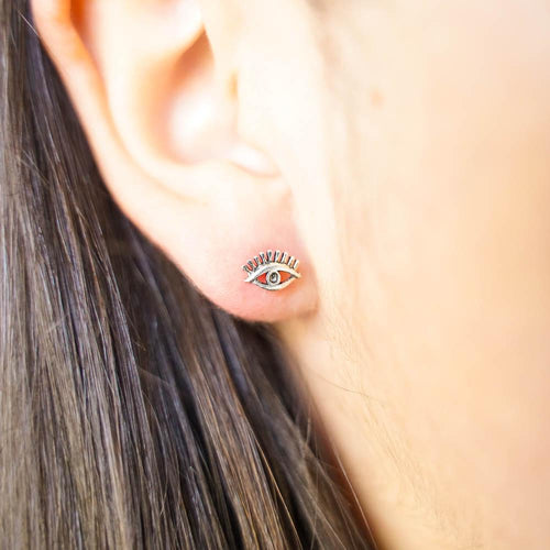 Peepers Silver Stud Earrings-JEWELLERY / EARRINGS-Mimi Silver (THA)-The Outpost NZ