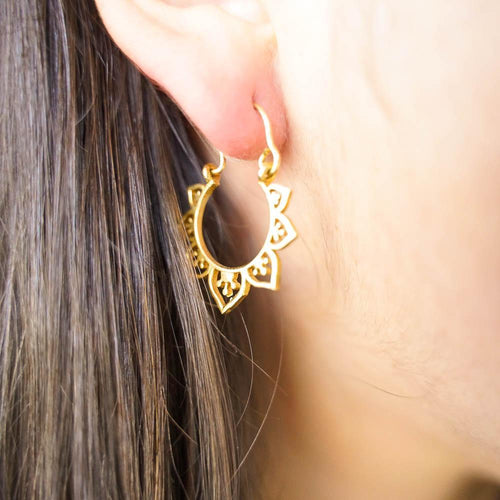 Petal Hoop Earring S-JEWELLERY / EARRINGS-Gopal Brass Man (IND)-BRASS-The Outpost NZ
