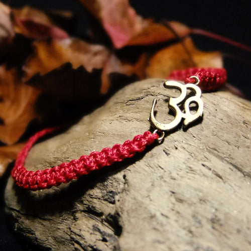 Plaited Macrame Bracelet-JEWELLERY / BRACELET-Ganesh Macrame (IND)-Om-Red-The Outpost NZ