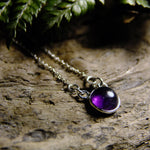 Precious Stone Silver Necklace-JEWELLERY / NECKLACE & PENDANT-1000 Design (THA)-Round-Amethyst-The Outpost NZ