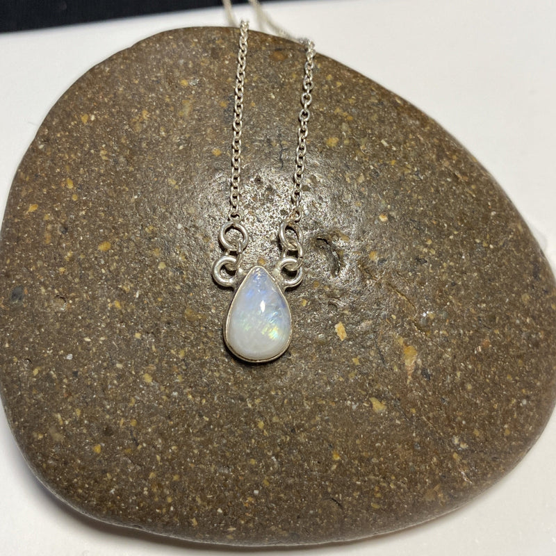 Precious Stone Silver Necklace-JEWELLERY / NECKLACE & PENDANT-1000 Design (THA)-Tear-Moonstone-The Outpost NZ