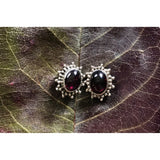 Precious Stone Studs-JEWELLERY / EARRINGS-Kagdi Jewellery - Carina (IND)-Fancy Oval-Garnet-The Outpost NZ