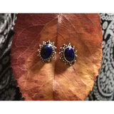 Precious Stone Studs-JEWELLERY / EARRINGS-Kagdi Jewellery - Carina (IND)-Fancy Oval-Lapis Lazuli-The Outpost NZ