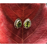 Precious Stone Studs-JEWELLERY / EARRINGS-Kagdi Jewellery - Carina (IND)-Heart-Peridot-The Outpost NZ