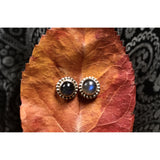 Precious Stone Studs-JEWELLERY / EARRINGS-Kagdi Jewellery - Carina (IND)-Large Round-Labradorite-The Outpost NZ
