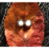 Precious Stone Studs-JEWELLERY / EARRINGS-Kagdi Jewellery - Carina (IND)-Large Round-White Stone-The Outpost NZ
