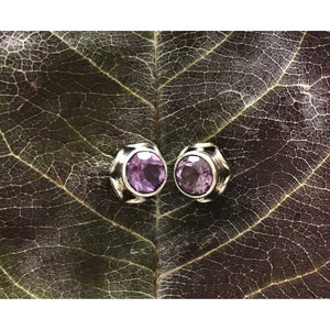 Precious Stone Studs-JEWELLERY / EARRINGS-Kagdi Jewellery - Carina (IND)-Round Geo-Amethyst-The Outpost NZ