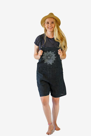 Print Dungarees Shorts-CLOTHING / DUNGAS-Mt Fashion (NEP)-Mandala-Black-S/M-The Outpost NZ