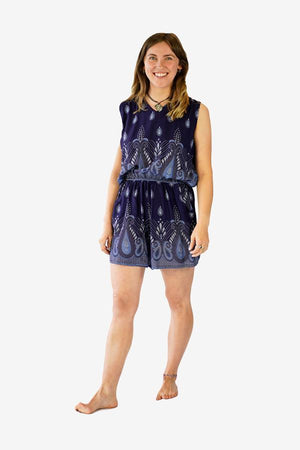 Printed Open Back Playsuit-CLOTHING / JUMPSUIT-Champagne2 (THA)-Cornflower Paisley-Navy-The Outpost NZ