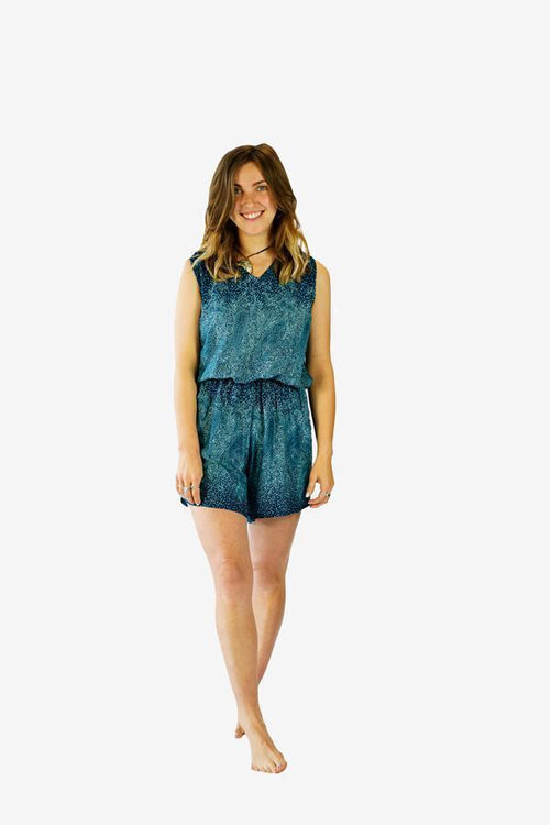 Printed Open Back Playsuit-CLOTHING / JUMPSUIT-Champagne2 (THA)-Cornflower Paisley-Turquoise-The Outpost NZ