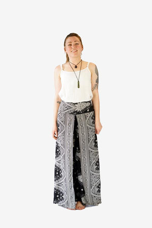 Printed Wrap Pants-CLOTHING / PANTS-Champagne2 (THA)-Sumatra-Black-The Outpost NZ