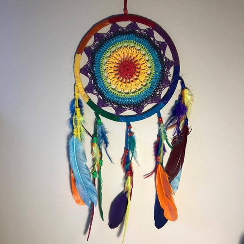 Rainbow Crochet Dreamcatchers-HOMEWARES-Iyada Shop (THA)-Small-The Outpost NZ